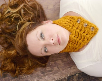 Womens Scarf Womens Scarflette Adult Scarflette Adult Scarf Crochet Scarflette Crochet Scarf Knit like Button Scarf Butterscotch Button Cowl
