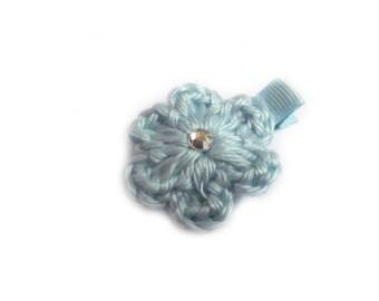Soft Blue Hair Clip Crochet Flower Hair Clip Alligator Clip Light Blue Pastel Blue Baby Blue Lined Hair Clip Baby Girl Hair Clip Toddler