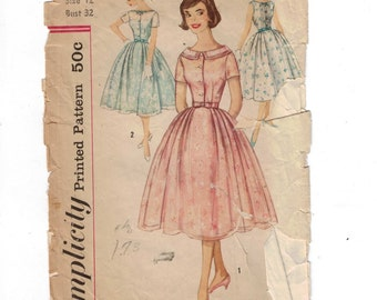 1950s Vintage Sewing Pattern Simplicity 2497 Misses Full Skirt Party Dress Size 12 Bust 32 50s