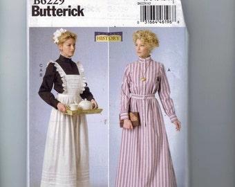 Misses Sewing Pattern Butterick B6229 6229 Downton Abbey Edwardian Servant Uniform Dress Making History  Size 6-14 14-22 Multisize UNCUT