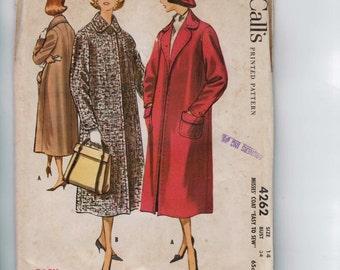 1950s Vintage Sewing Pattern McCalls 4262 Misses Coat Winter Car Wool Easy Size 14 Bust 34 1957 50s UNCUT