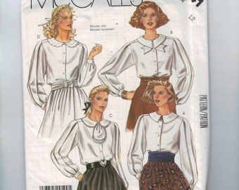 1980s Vintage Sewing Pattern McCalls 2141 Misses Button Front Blouse with Collar Variations Size 12 Bust 34 80s 1985 80s UNCUT  99