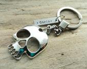 Silver Skull Keychain, Custom Name Stamped Keychain, Men's Skull Keyring