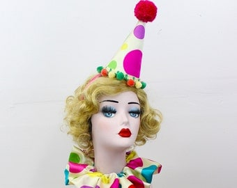 Mini Clown Hat, High Fashion, Birthday Party Hat, Halloween Costume, Vintage Clown, Burning Man, Circus Costume, Polka Dot Clown Costume