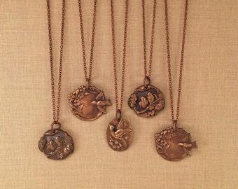 Bridesmaid necklace set with vintage bird charms - 5 piece