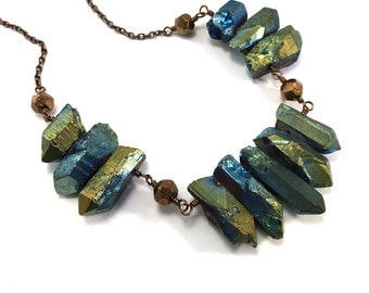 Quartz rock crystal statement necklace in peacock blues and greens