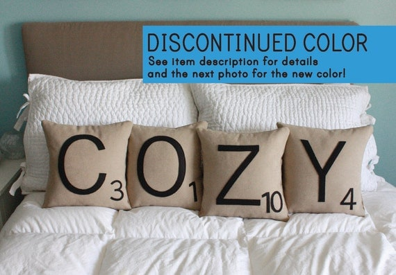 COZY Scrabble Pillows - Inserts Included // Scrabble Tile Pillows // Letter Pillow Cushions // Initials // Alphabet