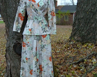 60s S Lurex Jumpsuit with Wrap Top w Peplum Palazzo Pants Shimmery Bold Floral Vintage 1960s