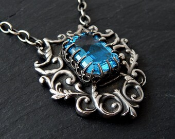 Large Blue Topaz Pendant: Fine Silver, Sterling Silver, 18x13mm emerald cut, Art Clay Silver, filigree pendant, gothic shield, long necklace