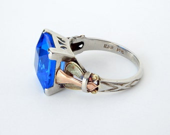 Star Sapphire Ring 14k White Gold Size 9 8x6mm By