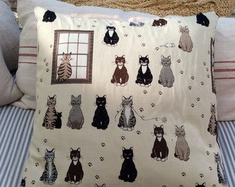 Cottage French Cat 20x20 Down Pillow/ShaBBy Chic/Black Ticking/ Decorative Pillow/Throw Pillow/Beach/Animal Print