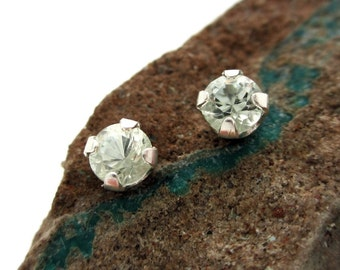 Achroite White Tourmaline Earrings in Gold, Silver, or Platinum with Genuine Gems, 4mm