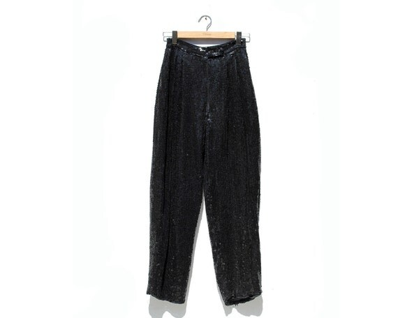 Vintage Black Sequin Silk Trouser / Black Silk Pants / Sequin Pants