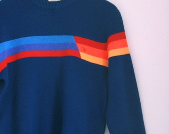 Vintage OP sweater crewneck pullover mens small ocean pacific rainbow stripes