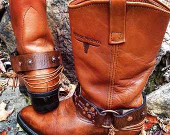 OLD WEST Drover Boots, Bohemian, Country Western, Handmade Boot Harnesses, Women's Size 9 US // Ready to Ship