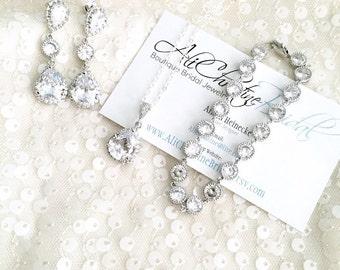 Rhinestone Bridal Jewelry Set, Cubic Zirconia Pendant Necklace, Earrings, Bracelet, Silver Tone for Wedding
