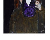 Acrylic Woman Portrait Painting. Original Portrait Art. Morning Coffee. Purple Mug. Kitchen Wall Decor
