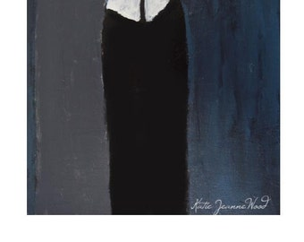 Dark Girls Figure Painting Print. Slate Blue Art Digital Print. Home Wall Art Decor. Art Gift for Sister.