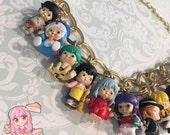 Little Kewpie Anime Characters Big Pearls Statement Necklace