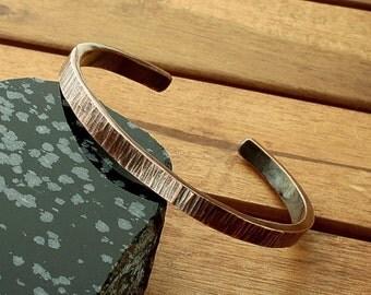 Hammered copper cuff | 6 mm bark copper cuff | patina bangle | heavy copper cuff | men's cuff | womens's cuff | made to order