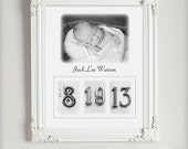 Baby Birth Announcement 11x14 Custom Baby Birth Date Print in Sepia or Black and White Date Photos Personalized with Your 5x7 Photo
