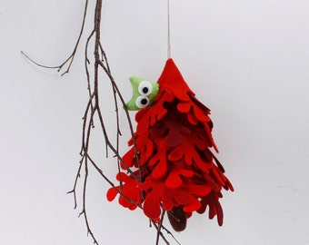 Red Fir  Tree with owl Ornament to hang Decorative Gift Decor
