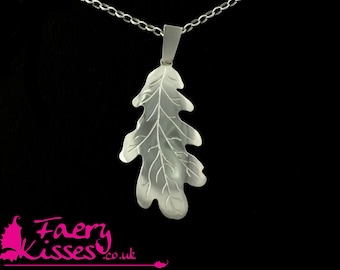 Silver Oak Leaf Necklace  - Tree of Victory Collection by Faery Kisses - No1 Large