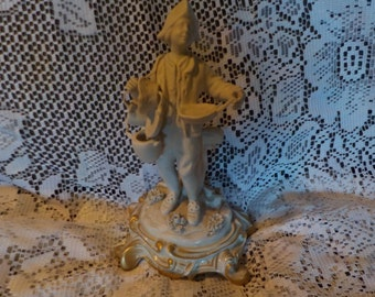 Ceramic Tinker Figurine Sculpture Made In Italy Signed Gold Trim On Base