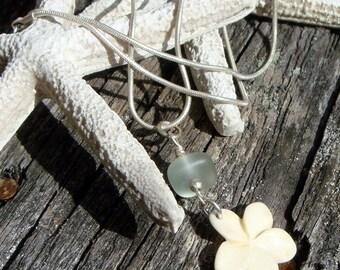 Light Blue Hawaiian Sea Glass and Plumeria Necklace OOAK Surf Tumbled Beach Glass
