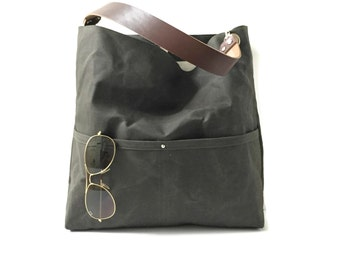 Canvas Bucket Bag, Waxed Canvas Tote Bag, Dark Olive