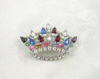 Vintage Crown Brooch Signed B. David Rhinestone Faux Pearl Silvertone