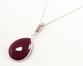 Genuine Ruby Necklace Red Ruby Necklace Sterling Precious Gemstones Enhancer July Birthstone Ruby Necklace Ruby Jewelry BZ-ENH-106-Ruby/s