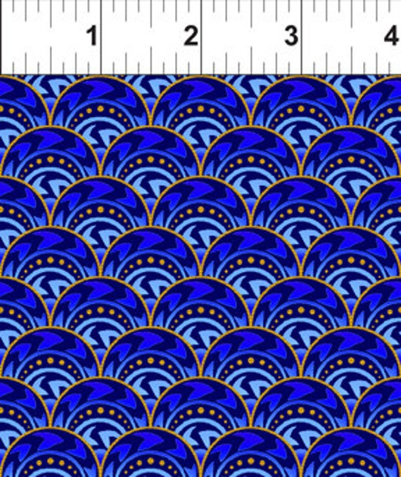 Celestial blue fan jason yenter fabric 1 yard from for Celestial fabric by the yard