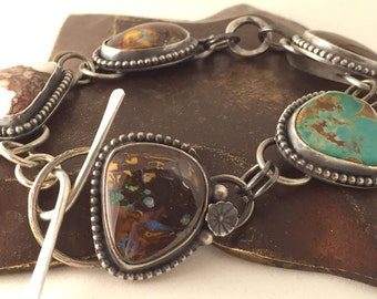 Sterling Silver and Stone Cabochon Link Bracelet with Koroit Boulder Opal and Turquoise  - Sterling Silver Linked Bracelet - Silver Bracelet