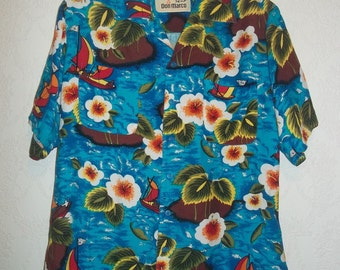 Mens 50s Vintage Hawaiian Shirt Turquoise Blue Hibiscus Men in Boats Print M Horizontal Buttons