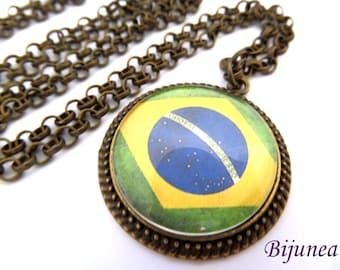Brazil necklace - Country Brazil necklace - World country Brazil necklace n785