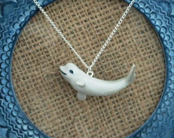 Porcelain Whale Necklace, Beluga Whale Necklace, Animal Necklace