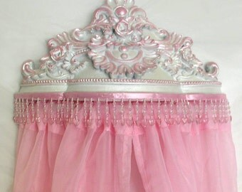 Bed canopy crown, white pearlescent with pink accents, FREE sheers
