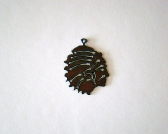 Indian Chief Recycled Metal Pendant Cutout