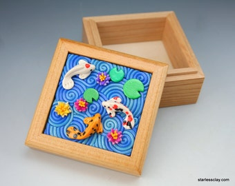 Fimo Koi Pond Wooden Box Polymer Clay Filigree