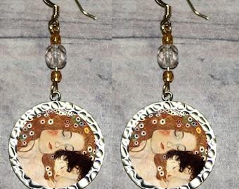 Gustav Klimt Mother and Child Earrings