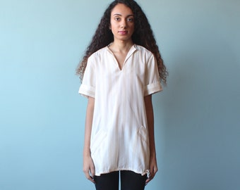 stripe tunic top / short sleeve pockets tunic / 1980s / small - medium