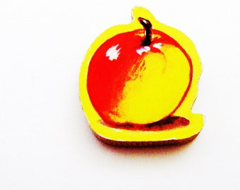 Apple Brooch - Lapel Pin / Red & Yellow Fruit Wood Brooch / Upcycled 1960s Hand Cut Wood Puzzle Piece / School Teacher Gift / Gift Under 20