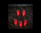 Stitch Markers: 5 Matte Hot Red Pressed Glass Stitch Markers