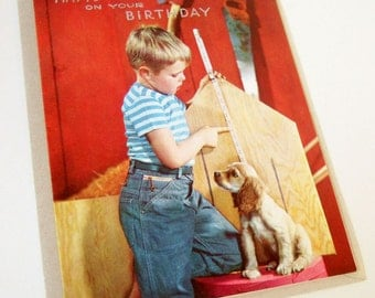 Kitsch Birthday Card with Boy and Puppy - Unused 1950s Vintage Greetings Card