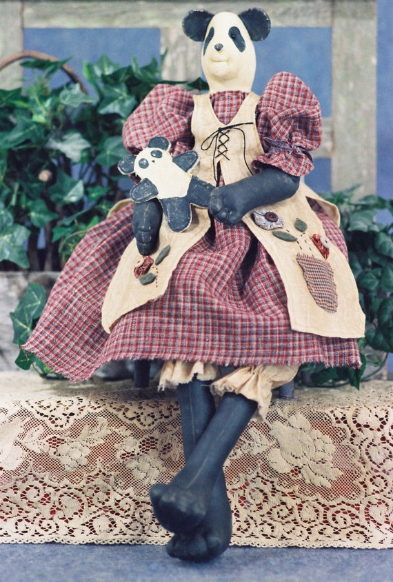 Mailed Cloth Doll Pattern  24in Country Girl Panda Bear