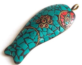 1 pc- Tribal Ethnic Tibetian Blue Red Gold Tone Fish Pendant-75x30mm-(026-020GP)