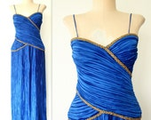 Sapphire Goddess Dress / FORTUNY PLEATED Dress / 80s Beaded Cocktail Dress