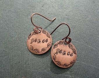 stamped copper earrings, peace earrings, peace jewelry, stamped earrings, stamped jewelry, bohemian earrings, boho chic, hippie earrings