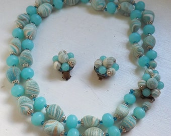 Vintage 1950s aqua and sand swirled sugar bead beaded lucite necklace and earrings set  2 strand asymmetrical cluster